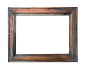 empty vintage brown photo picture frame isolated on white background closeup