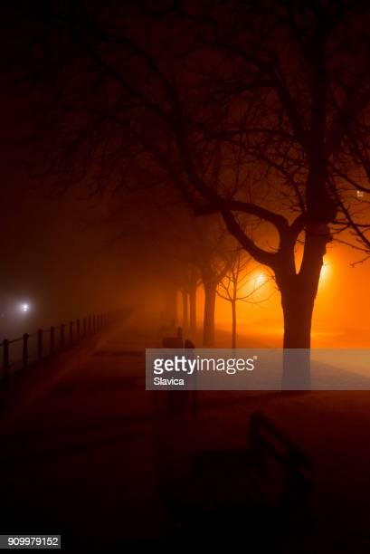 Empty walkway in the misty night