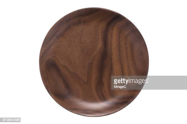 Empty Walnut Wood Plate