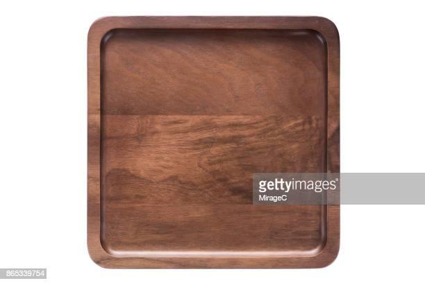 Empty Walnut Wood Plate Tray
