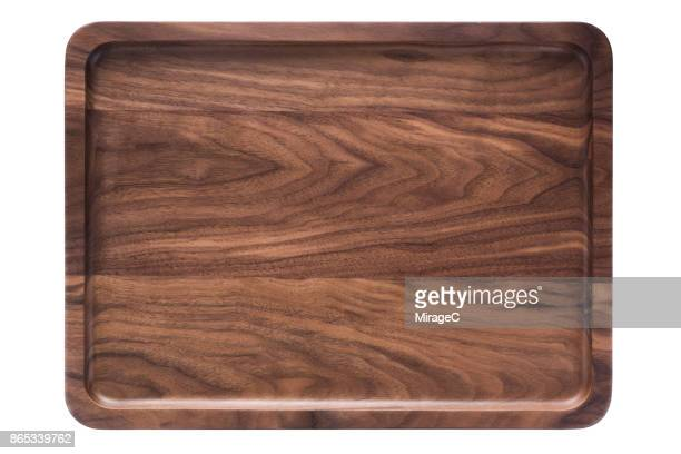 Empty Walnut Wood Plate Tray