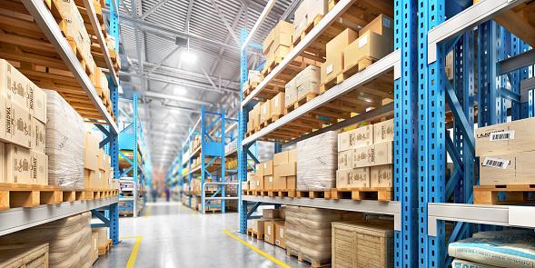Empty warehouse full of cargo 874165940