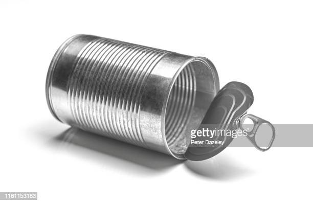 empty washed tin can waiting to be recycled - sparse stock pictures, royalty-free photos & images