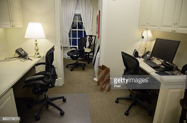 Empty West Wing offices are seen early morning at the White House on the first full day of US President Donald Trump's office on January 21 2017 in...