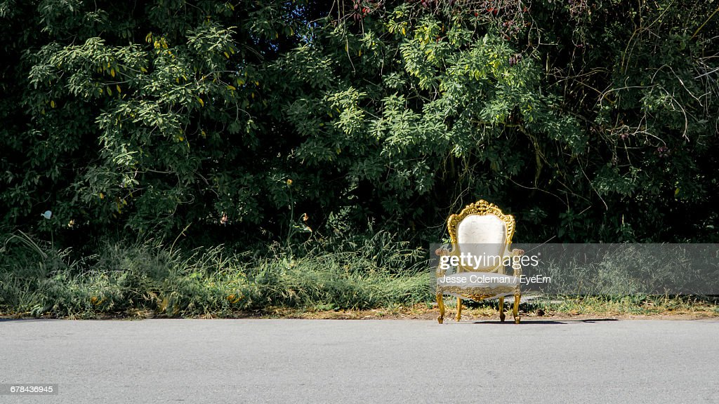 Empty White Armchair On Road Against Plants : Stock Photo