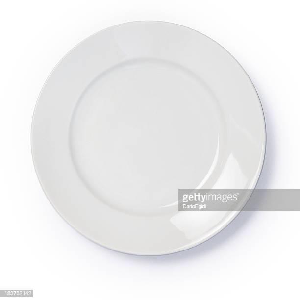 Empty white dinner plate on white background