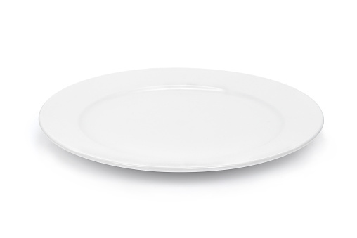 empty white plate isolated on white background 881459402