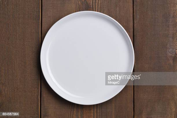 Empty White Plate on Wood Table