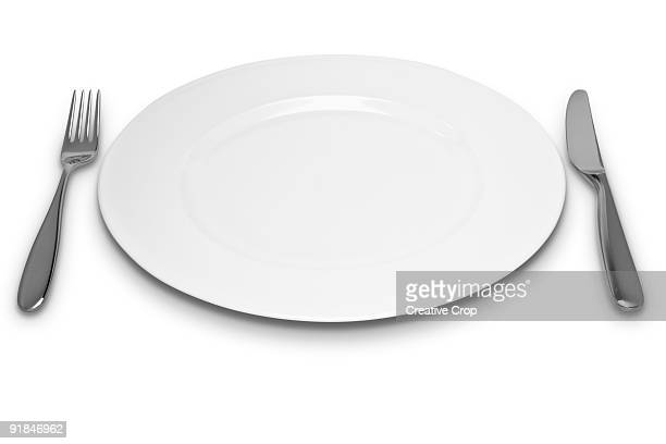 Empty white plate with knife and fork