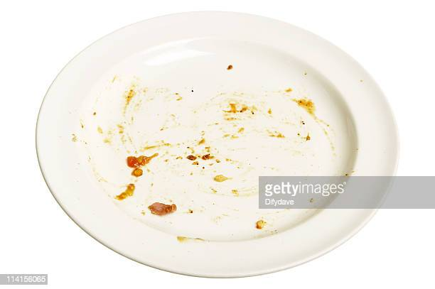 Empty white plate with smears of food