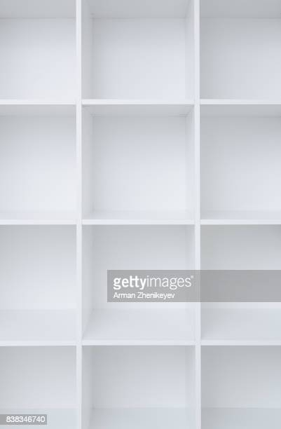 Empty white shelf cabinet