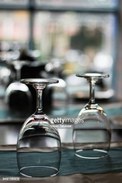 Empty wine glass in table of a restaurant