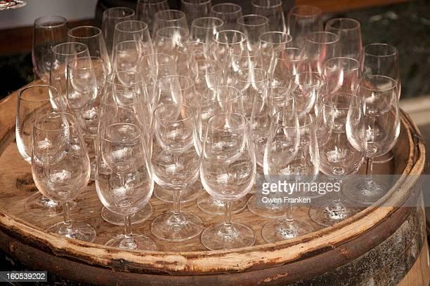 Empty wine glasses at a wine tasting