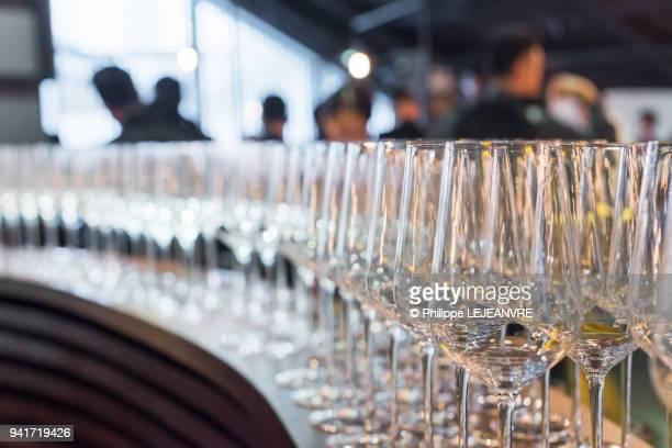 Empty wine glasses in a row