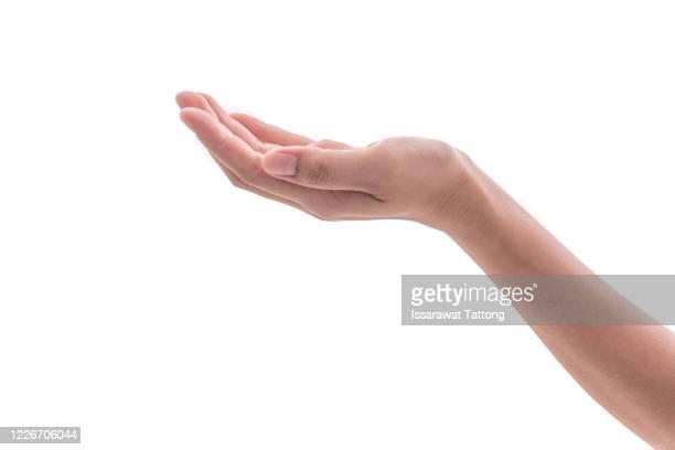 empty woman hand holding isolated on white background. - 人間の手 ストックフォトと画像