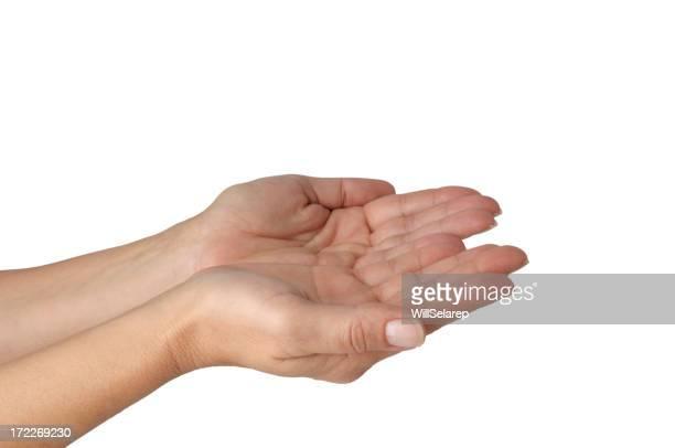 Leere Frau Hände