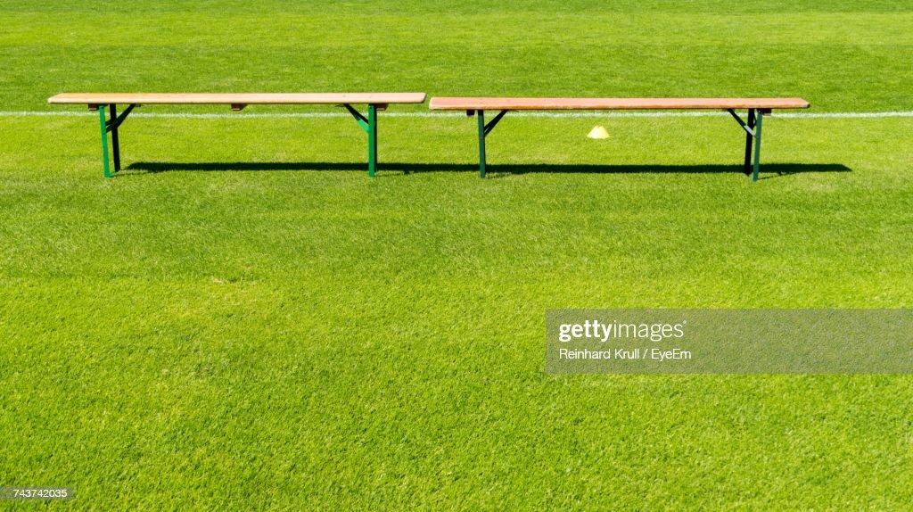 Enjoyable Empty Wooden Bench On Sports Field High Res Stock Photo Beatyapartments Chair Design Images Beatyapartmentscom