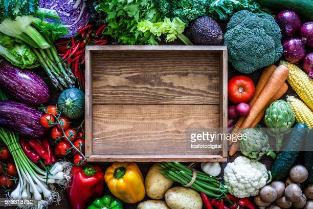 empty wooden crate and vegetables - crate stock pictures, royalty-free photos & images