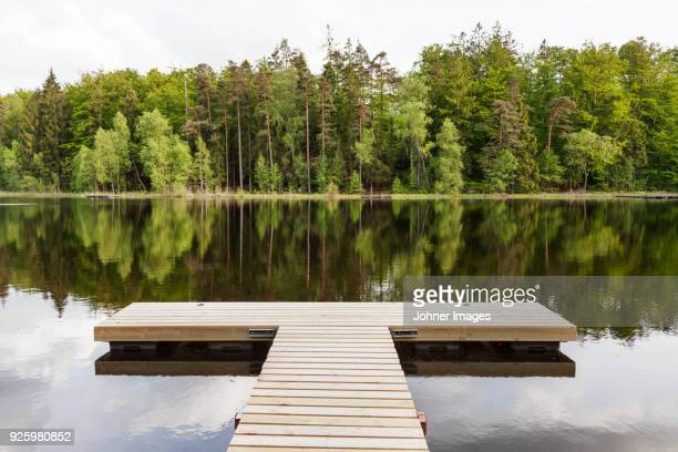 empty wooden dock - jetty stock pictures, royalty-free photos & images