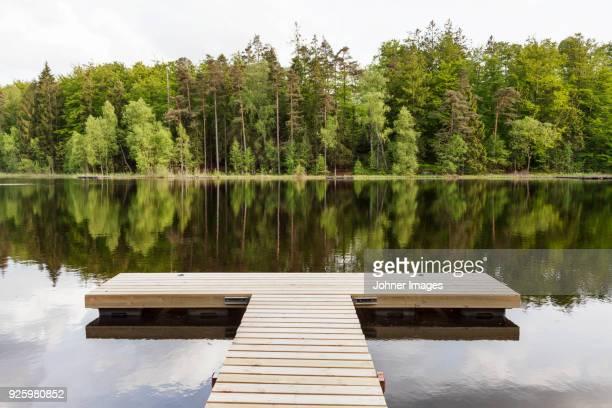 empty wooden dock - embarcadero fotografías e imágenes de stock