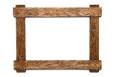 Empty wooden photo frame on white background