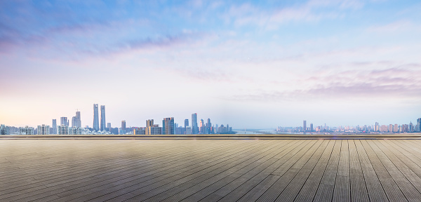 empty wooden plank front of nanchang panoramic skyline - gettyimageskorea
