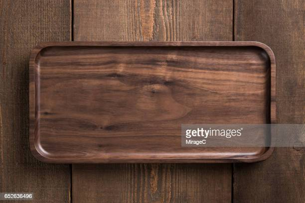 Empty Wooden Plate Tray
