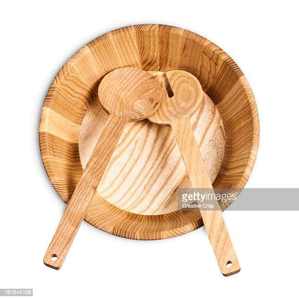 Empty wooden salad bowl