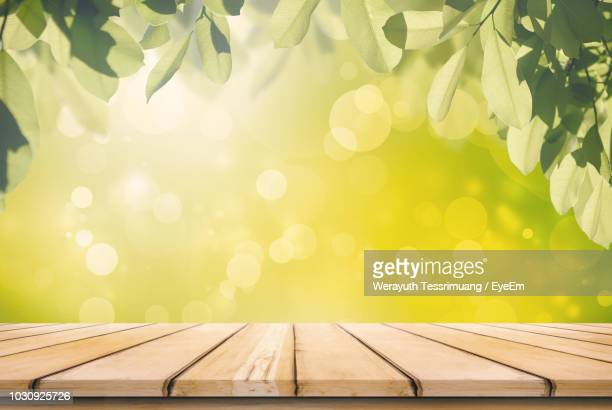 Empty Wooden Table Against Lens Flare
