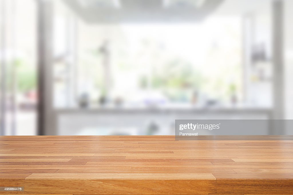 dinner table background. Empty Wooden Table And Blurred Kitchen Background Dinner G