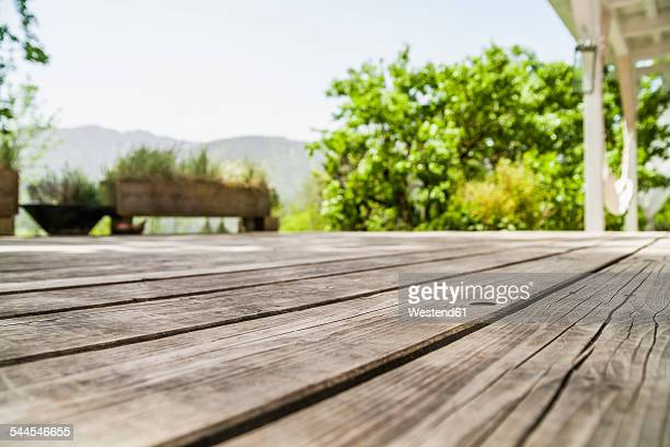 Empty wooden terrace