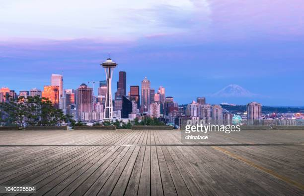 empty wooden viewing platform,seattle - washington state stock pictures, royalty-free photos & images