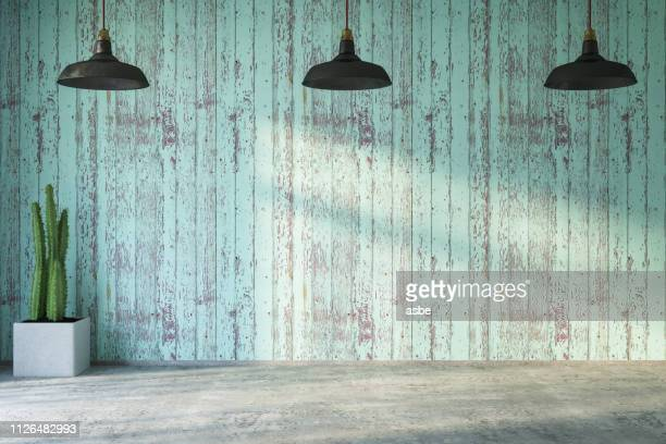 empty wooden wall with lights and plant - rustic stock pictures, royalty-free photos & images