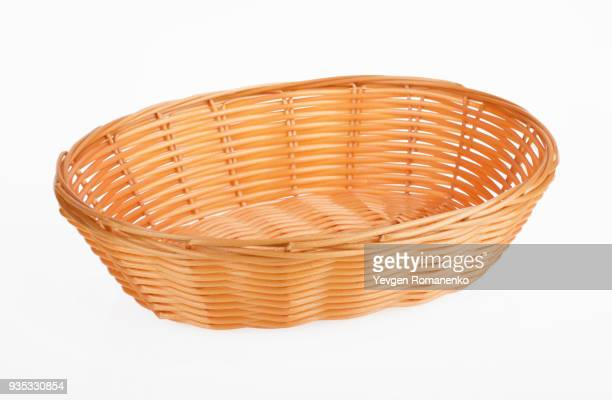 Empty wooden wicker isolated on white background