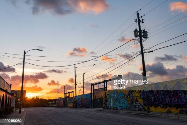 empty wynwood miami florida street at sunset - abandoned stock pictures, royalty-free photos & images