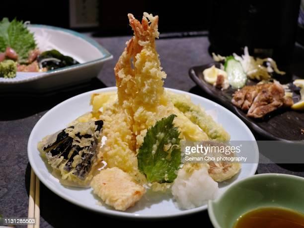 empura moriawase, japanese food - 天ぷら ストックフォトと画像