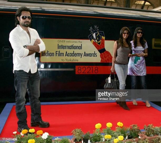 Emraan Hashmi Geeta Basra and Sayali Bhagat during Stars of The Train Unveil GNER Train Photocall at King's Cross Station in London United Kingdom
