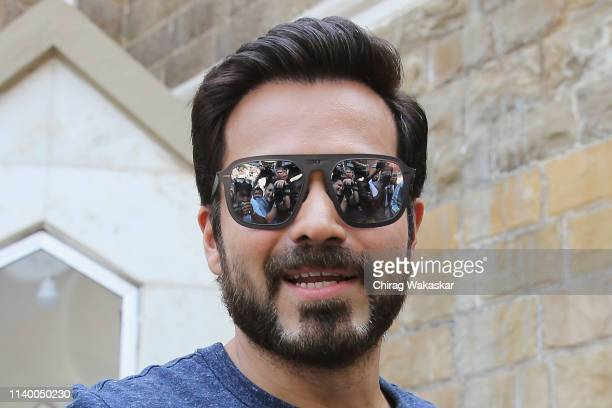Emraan Hashmi poses for pictures with his inked finger during phase 4 of Lok Sabha Elections 2019 on April 29 2019 in Mumbai India