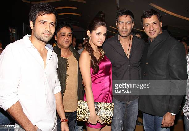 Emraan Hashmi Shazahn Padamsee Ajay Devgan and Madhur Bhandarkar at the music launch of film Dil To Baccha Hai Ji in Mumbai