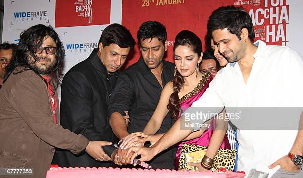 Emraan Hashmi Shazahn Padamsee Ajay Devgan Madhur Bhandarkar and Pritam at the music launch of film Dil To Baccha Hai Ji in Mumbai