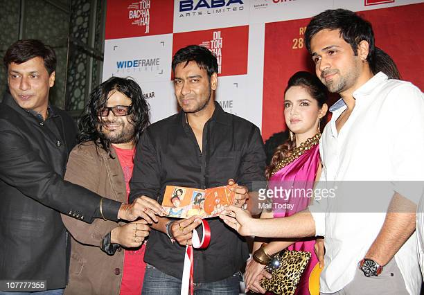 Emraan Hashmi Shazahn Padamsee Ajay Devgan Madhur Bhandarkar and Pritam at the music launch of film Dil To Baccha Hai Ji in Mumbai