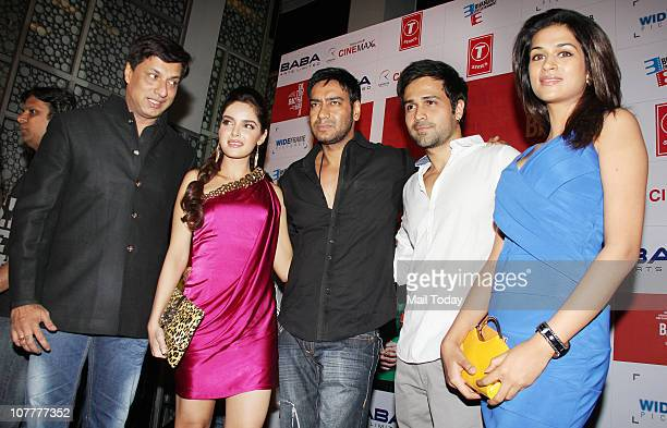 Emraan Hashmi Shazahn Padamsee Ajay Devgan Madhur Bhandarkar and Shraddha Das at the music launch of film Dil To Baccha Hai Ji in Mumbai