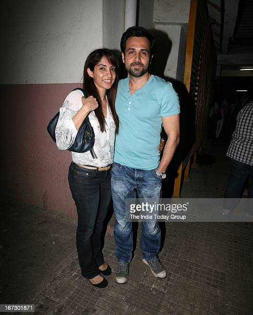 Emraan Hashmi with his wife at the special screening of 'Aashiqui 2' in Mumbai on 23rd April 2013