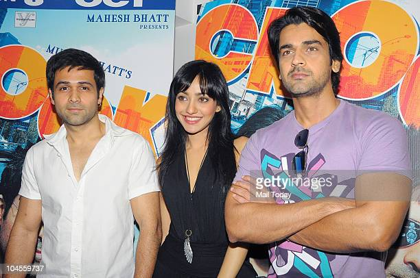 Emran Hashmi Neha Sharma and Arjan Bajwa during a press conference for the film 'Crook' in Mumbai on September 29 2010