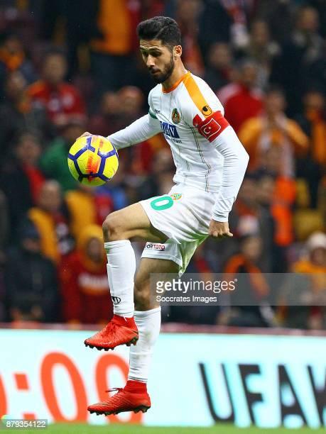 Emre Akbaba of Alanyaspor during the Turkish Super lig match between Galatasaray v Alanyaspor at the Turk Telecom Stadum on November 25 2017 in...