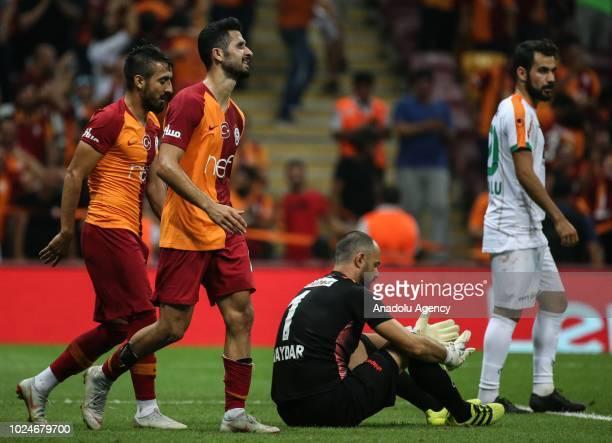Emre Akbaba of Galatasaray celebrates after scoring a goal during Turkish Super Lig soccer match between Galatasaray and Aytemiz Alanyaspor at Turk...