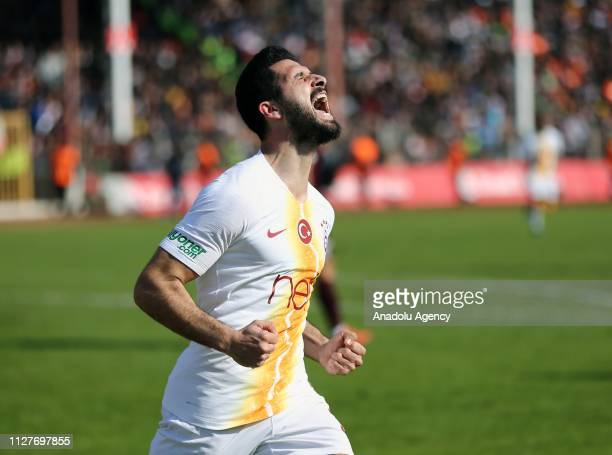 Emre Akbaba of Galatasaray celebrates after scoring a goal during the Ziraat Turkish Cup quarter final return match between Hatayspor and Galatasaray...