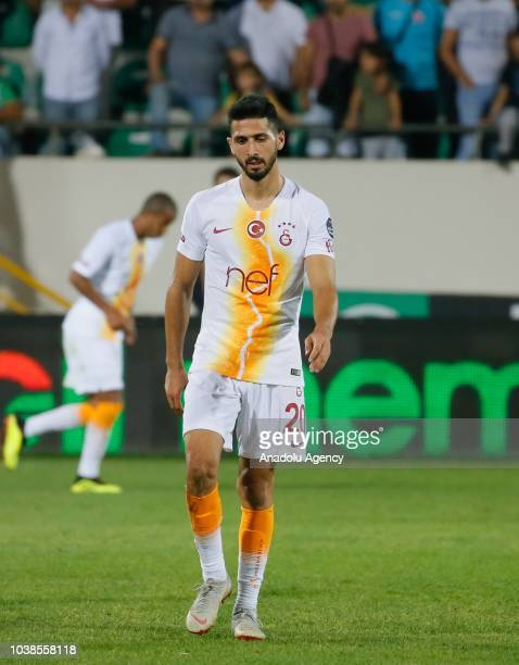 Emre Akbaba of Galatasaray gestures after losing Turkish Super Lig week 6 soccer match against Akhisarspor at Spor Toto Akhisar Stadium in Manisa...