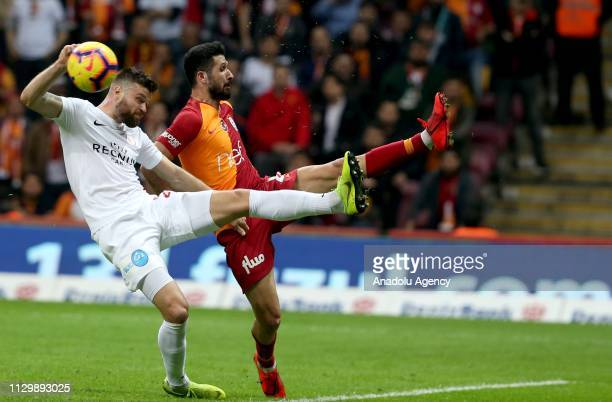 Emre Akbaba of Galatasaray in action during the Turkish Super Lig soccer match between Galatasaray and Antalyaspor at Turk Telekom Stadium in...