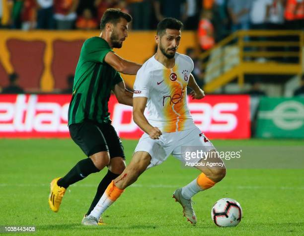Emre Akbaba of Galatasaray in action during Turkish Super Lig soccer match between Akhisarspor and Galatasaray at Spor Toto Akhisar Stadium in Manisa...